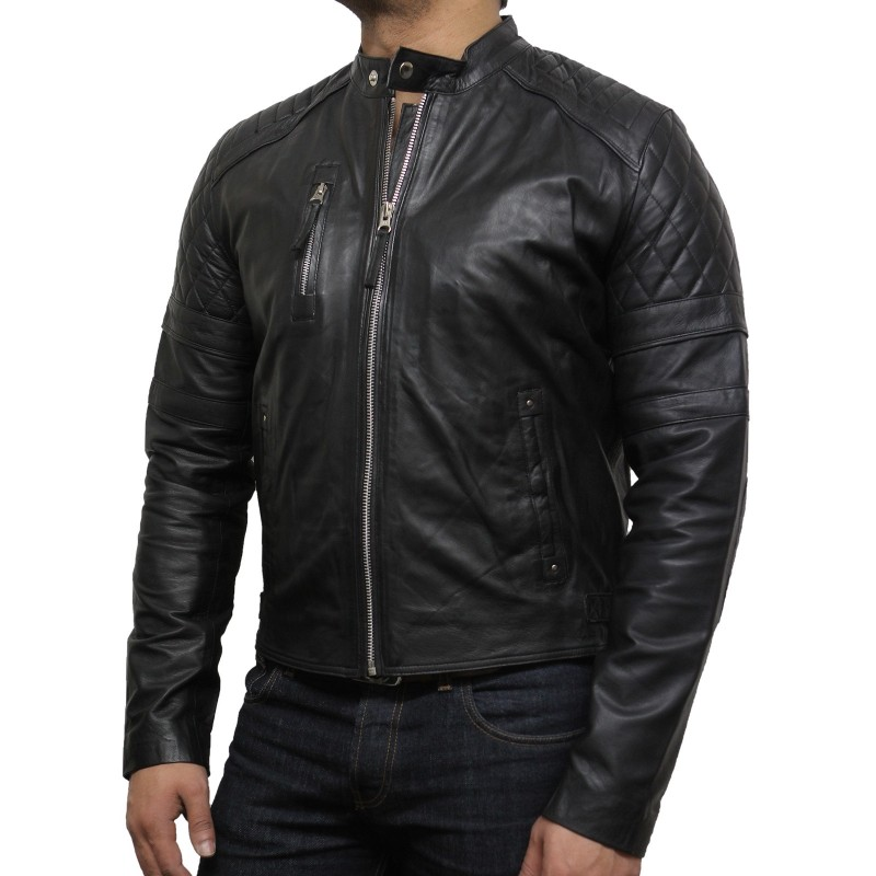 Men S Leather Biker Jacket Black Cary