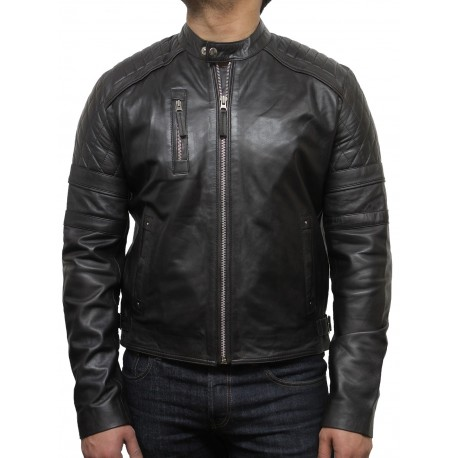 Men's Leather Biker Jacket Brown - Cary