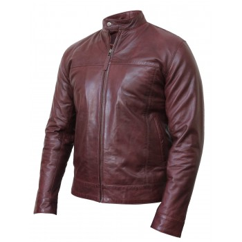 Men's Burgundy Leather Jacket Crinkle Retro