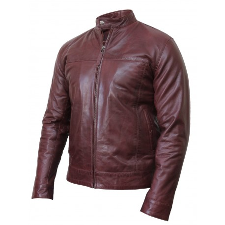 Men's Black Leather Jacket - Crinkle Retro Pacific