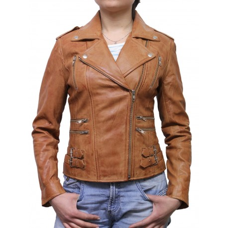 Ladies Tan Leather Biker Jacket - Moss