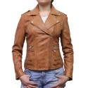 Women Tan Leather Biker Jacket - Moss