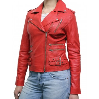 Women Red Leather Biker Jacket - Moss