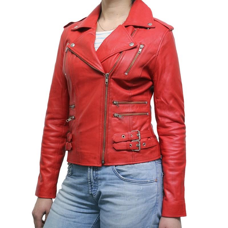Women Red Leather Biker Jacket Moss