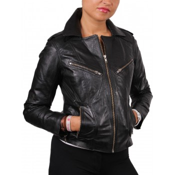 Women Black Leather Biker Jacket - Kristy