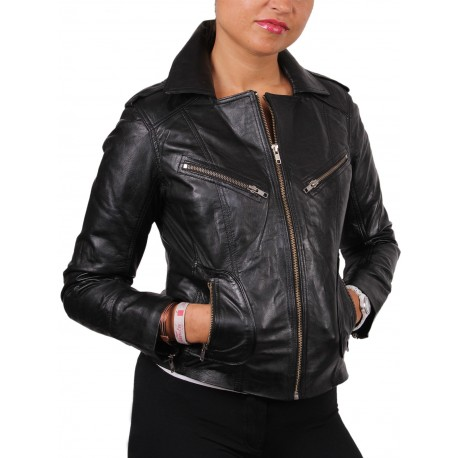Ladies Black Leather Biker Jacket - Kristy