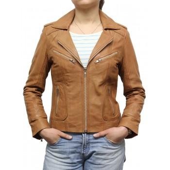 Women Tan Leather Biker Jacket - Kristy