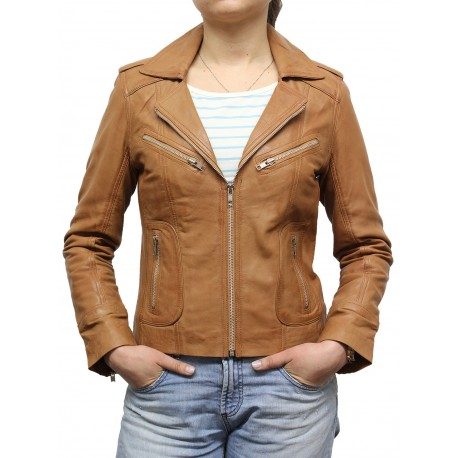 Ladies Tan Leather Biker Jacket - Kristy