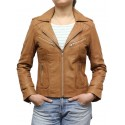 Women Tan Leather Biker Jacket - Kristy