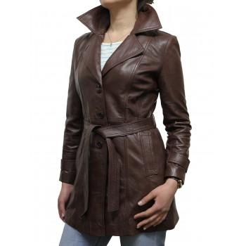 Women Brown Leather Blazer Jacket - West