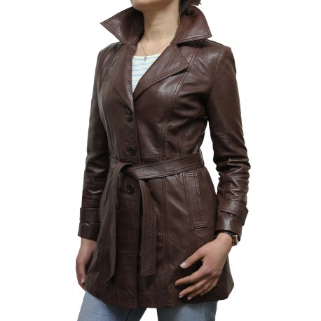 Ladies Brown Leather Blazer Jacket - West