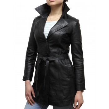 Women Black Leather Blazer Jacket - West