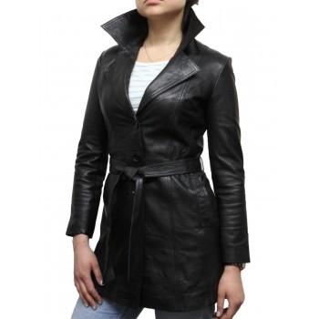 Women Black Leather Blazer Jacket - West