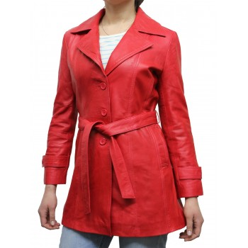 Women Red Leather Blazer Jacket - West