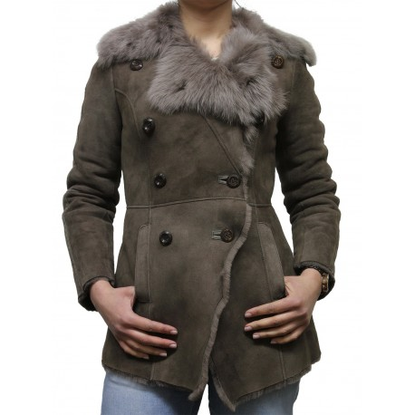 Ladies Grey Toscana sheepskin Coat - Attic