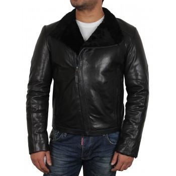 Men's Black shearling sheepskin jacket - Sutton