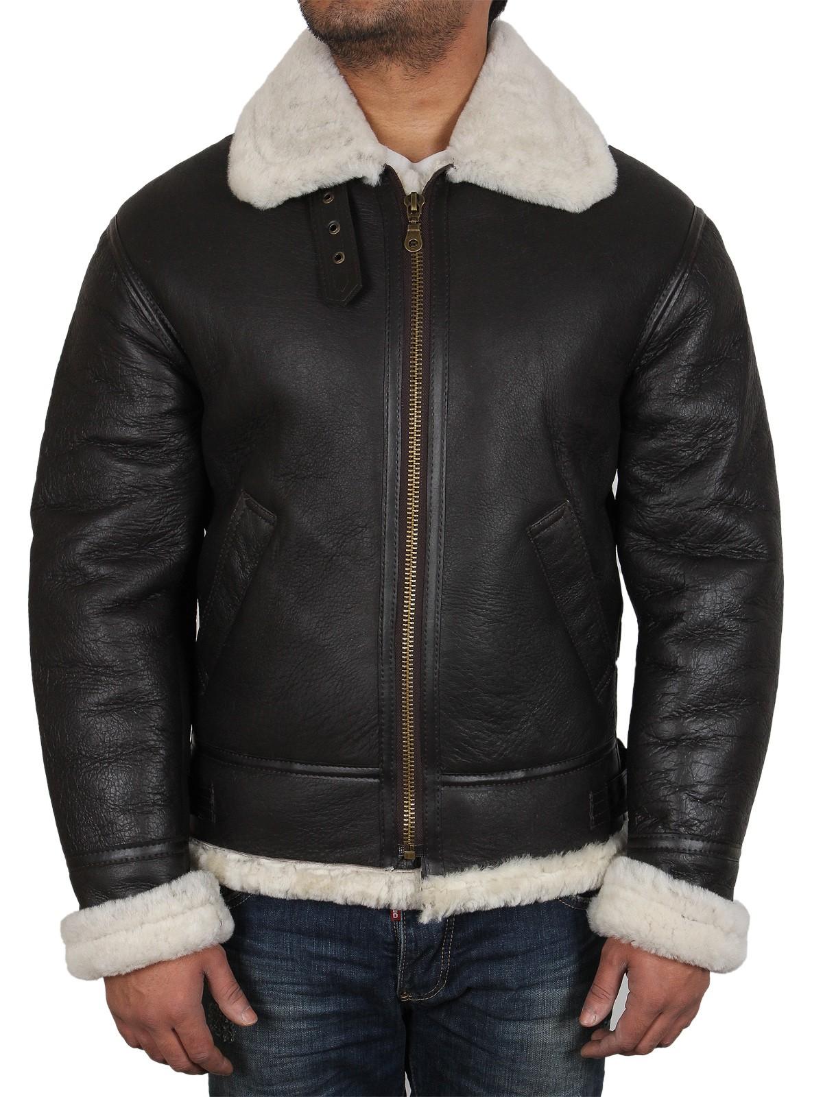 5cc148dea58 Men s Aviator Real Shearling Sheepskin Leather Flying Jacket