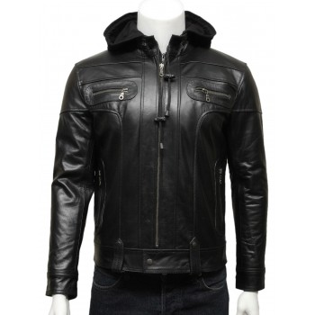 Mens Black Hooded Leather Biker Bomber Jacket-Bram