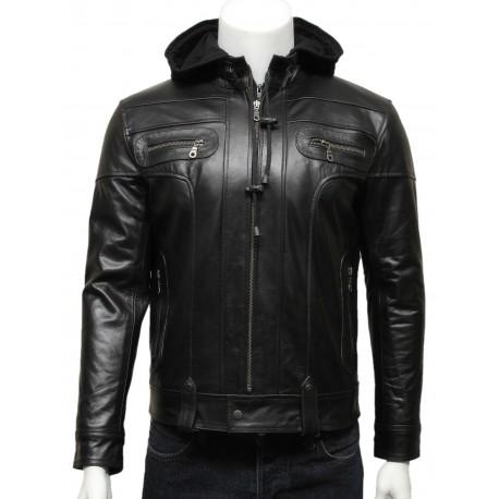 Mens Black Hooded Leather Biker Bomber Jacket-Bram