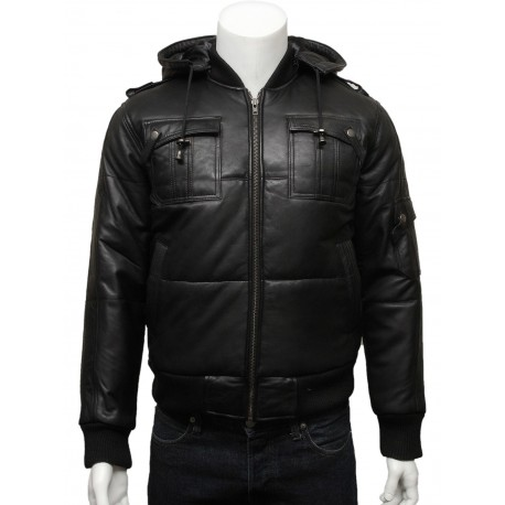 Mens Classic Retro Black Puffed Leather Biker Jacket -Daan