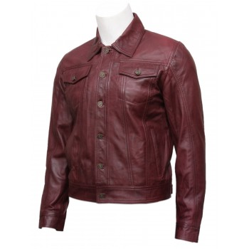 Mens Burgundy Leather Stylish Biker jacket Coat-Aaron
