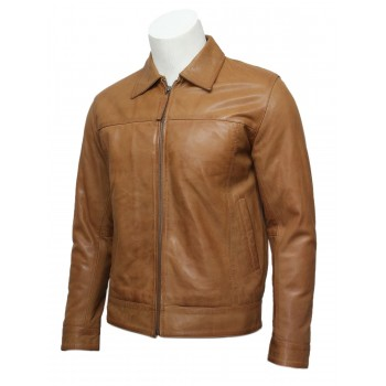 Mens Classic Leather Biker Jacket Harrington Tan-Gael