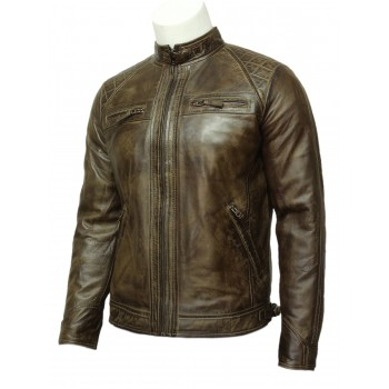 Mens Leather Biker Jacket Brown -Cory