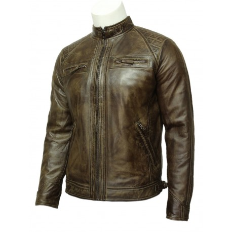 Mens Leather Biker Jacket Tan -Cory