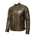 Mens Leather Biker Jacket Brown -Cory