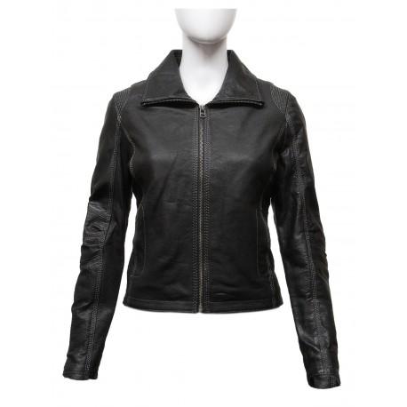 Women's Stylish Black Real Leather Biker Jacket -Lena