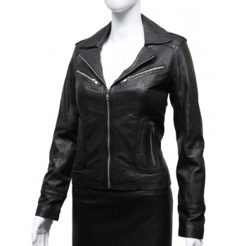 Ladies Women's Black Vintage Real Leather Biker Jacket-Hannah