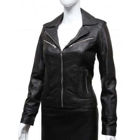 Ladies Women's Black Vintage Real Leather Biker Jacket-Hannah