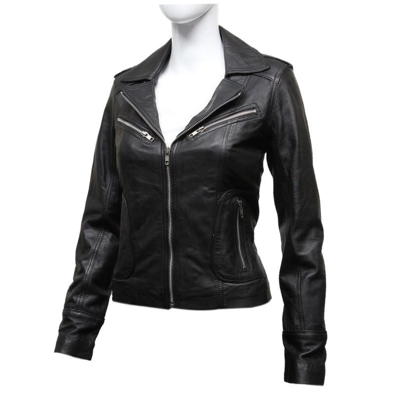 Ladies Women S Black Vintage Real Leather Biker Jacket Hannah