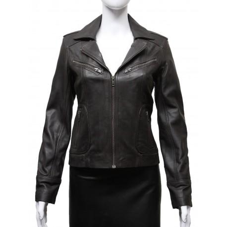 Ladies Women's Brown Vintage Real Leather Biker Jacket-Hannah