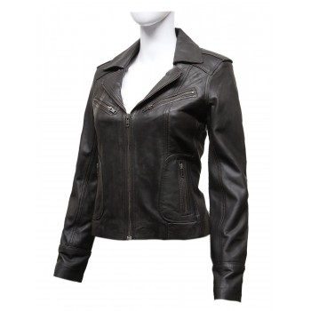 Ladies Women's Brown Vintage Real Leather Biker Jacket-Hannah