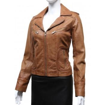 Ladies Women's Tan Vintage Real Leather Biker Jacket-Hannah