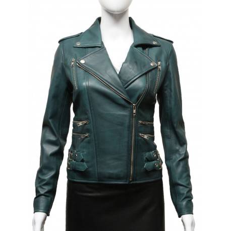 Women Waxed Teal Leather Biker Jacket - Moss