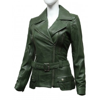 Ladies Women Stylish Olive Leather Biker Jacket-Kate