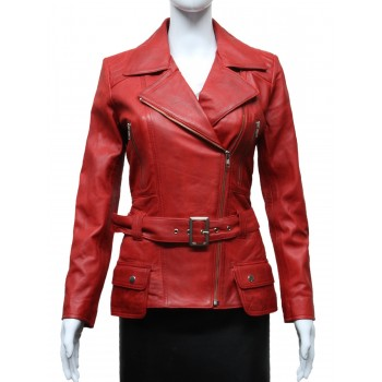 Ladies Women Stylish Red Leather Biker Jacket - Kate