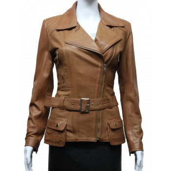 Ladies Women Stylish Tan Leather Biker Jacket-Kate