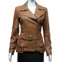 Ladies Women Stylish Tan Leather Biker Jacket-Kate