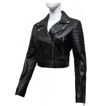 Ladies Black Puffed Leather Biker Jacket-Tereza