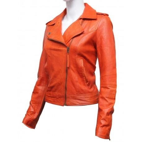 Women Orange Leather Biker Jacket -Haven
