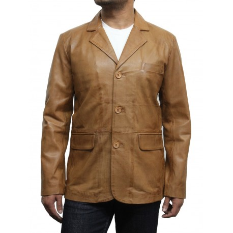 Men's Tan Leather Blazer Jacket - Andre