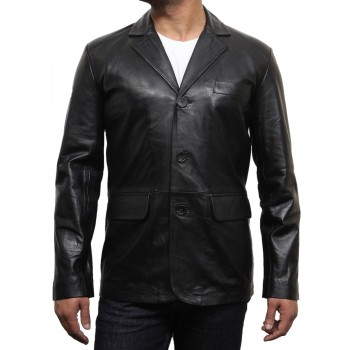 Men's Black Leather Blazer Jacket - Andre