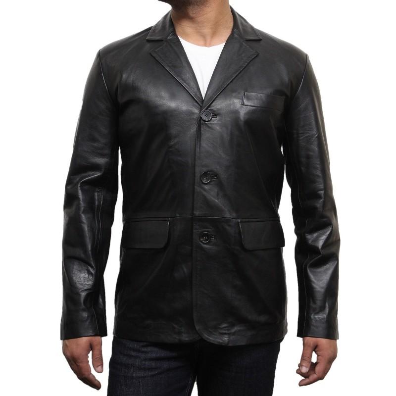 Men S Black Leather Blazer Typo
