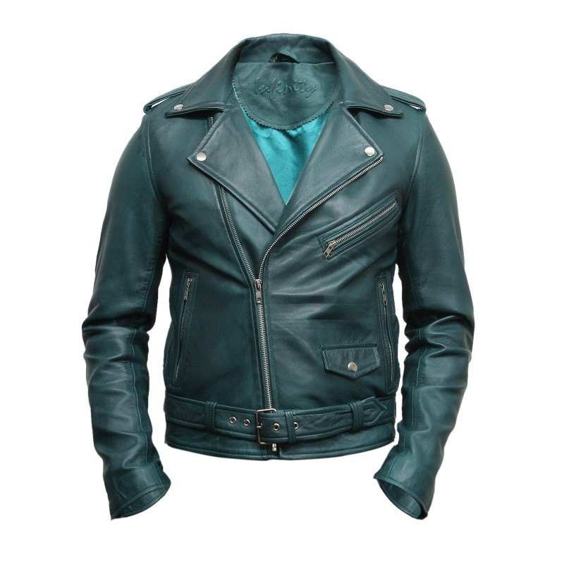 Mens Stylish Zipped Pocket Leather Biker Jacket Teal Maxim