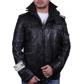 Men's Black Designer Look Leather Biker Jacket