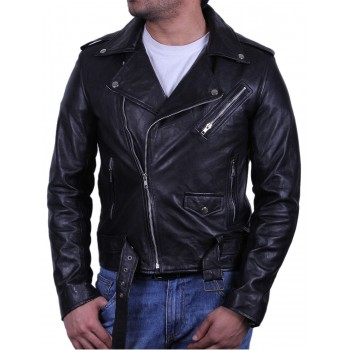 Mens Stylish Zipped Pocket Leather Biker Jacket Black- Maxim