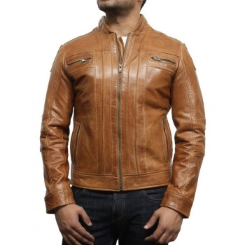 Men's Tan  Leather Biker Jacket Iconic Style- Bryan